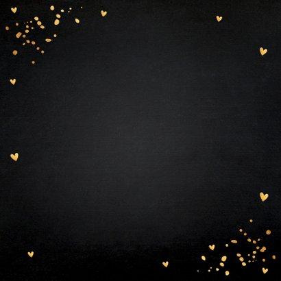 Uitnodiging kerstdiner zwart goudlook confetti Achterkant