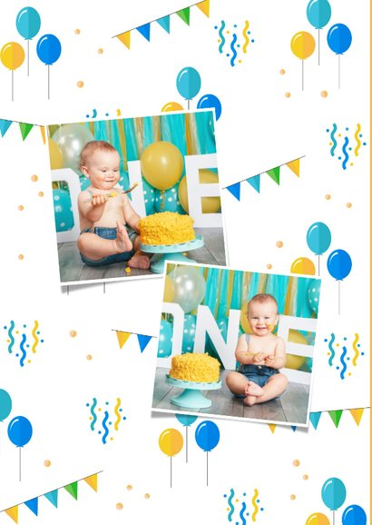 Uitnodiging kinderfeestje 1 jaar jongen feestelijk foto 2