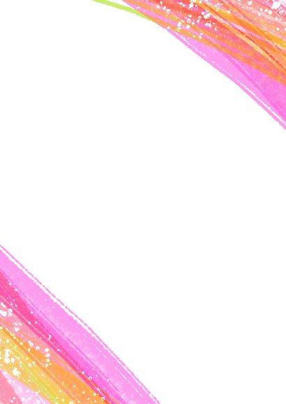Uitnodiging kinderfeestje 3 foto's & roze verfstrepen Achterkant