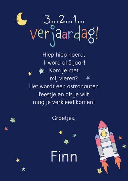 Uitnodiging kinderfeestje astronaut 3