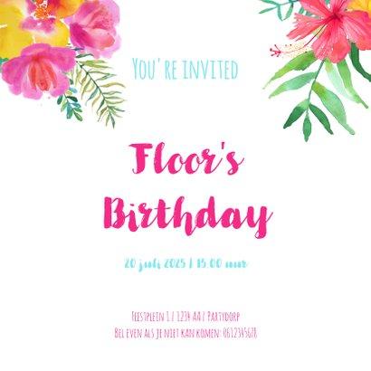 Uitnodiging kinderfeestje flamingo en tropische bloemen 3