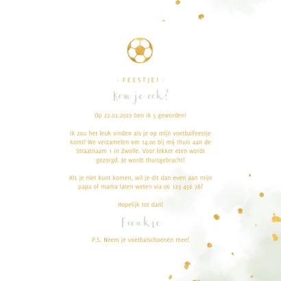 Uitnodiging kinderfeestje gouden voetbal met waterverf 3