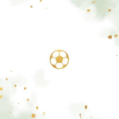 Uitnodiging kinderfeestje gouden voetbal met waterverf Achterkant