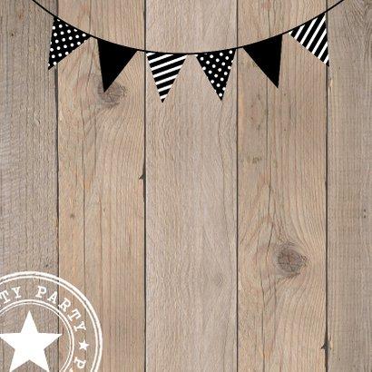 Uitnodiging kinderfeestje hout slinger  2