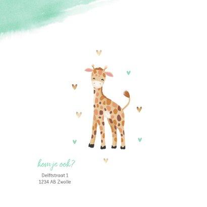 Uitnodiging kinderfeestje jongen 1 jaar giraf waterverf 2