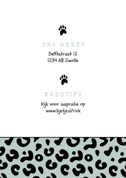 Uitnodiging kinderfeestje jongen luipaard panter dieren 2