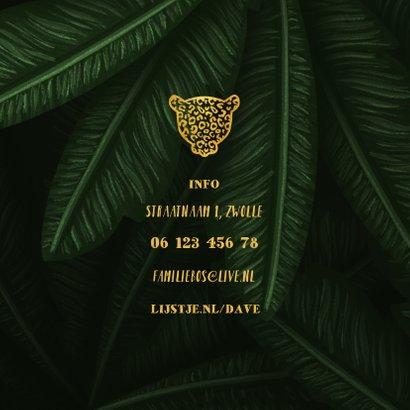 Uitnodiging kinderfeestje jungle bladeren met foto's 2