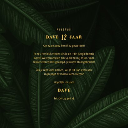 Uitnodiging kinderfeestje jungle bladeren met foto's 3