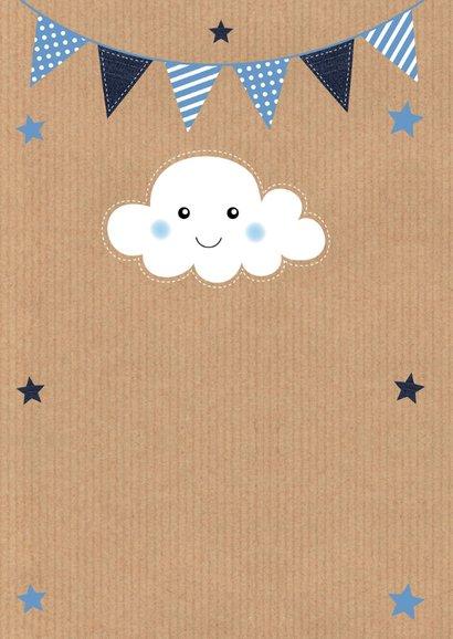 Uitnodiging kinderfeestje kraft blauw fotocollage slinger 2