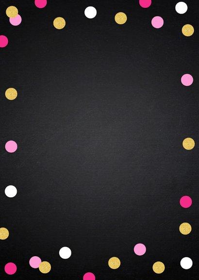 Uitnodiging kinderfeestje krijtbord meisje confetti 2