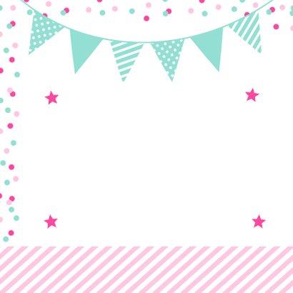 Uitnodiging kinderfeestje meisje confetti roze vakken 2