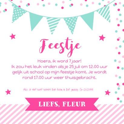Uitnodiging kinderfeestje meisje confetti roze vakken 3