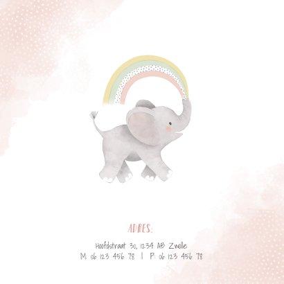 Uitnodiging kinderfeestje meisje met olifantje en regenboog 2