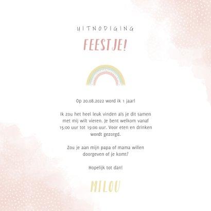 Uitnodiging kinderfeestje meisje met olifantje en regenboog 3