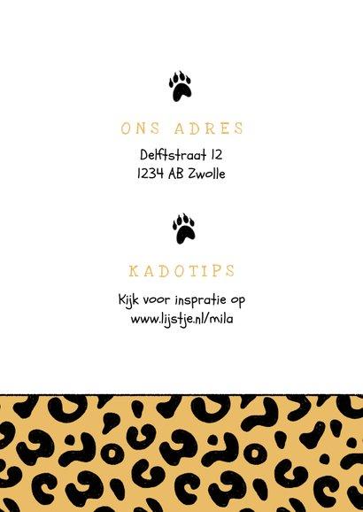 Uitnodiging kinderfeestje meisje panter luipaard roze jungle 2