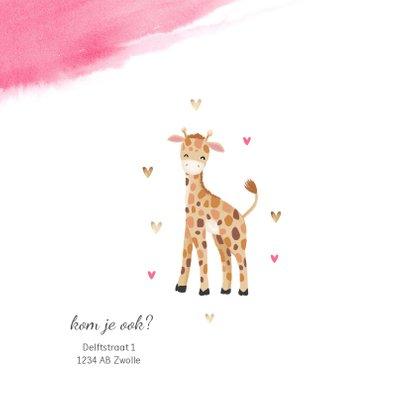 uitnodiging kinderfeestje meisje waterverf giraf hartjes 2