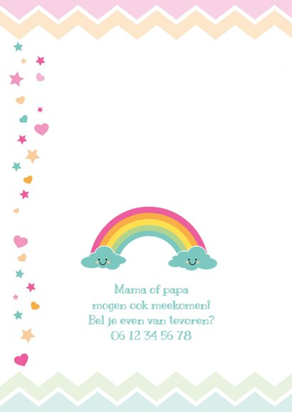 Uitnodiging kinderfeestje regenboog & wolkjes 2