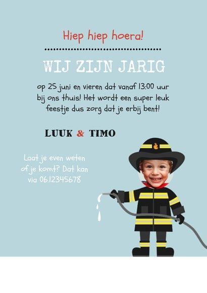 Uitnodiging kinderfeestje tweeling brandweer 3