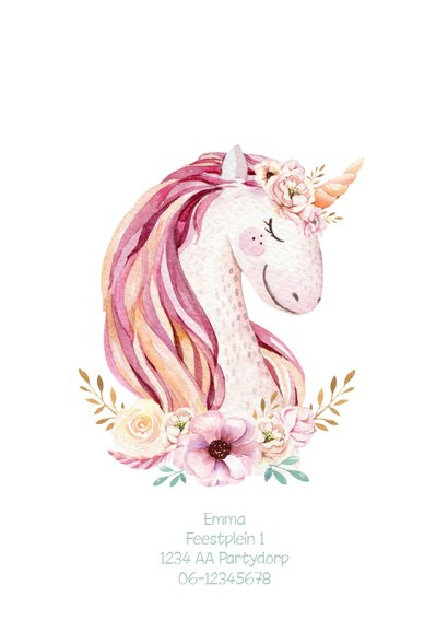 Uitnodiging kinderfeestje unicorn met waterverf bloemen 2