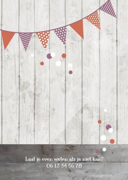 Uitnodiging kinderverjaardag roze foto, slinger en confetti 2