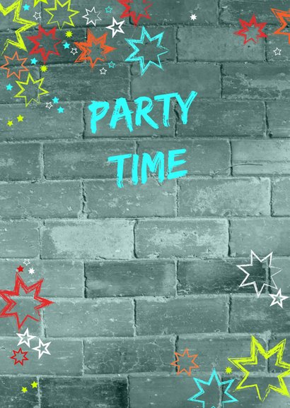 Uitnodiging kinderverjaardag stoer muur graffiti  2