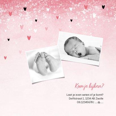 Uitnodiging kraamfeest baby borrel meisje hartjes 2