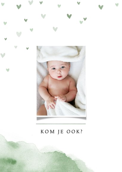 Uitnodiging kraamfeest baby waterverf hartjes foto groen 2