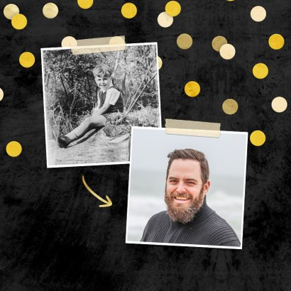 Uitnodiging krijtbord gouden 'let's party' met confetti 2