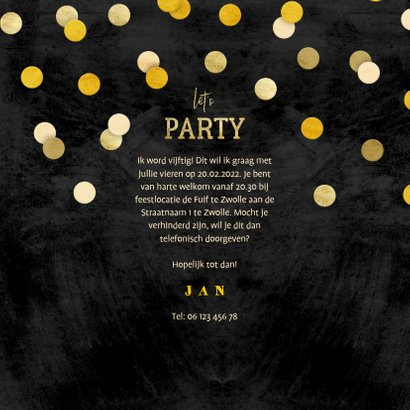 Uitnodiging krijtbord gouden 'let's party' met confetti 3