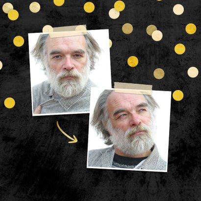 Uitnodiging krijtbord gouden 'met pensioen' met confetti 2