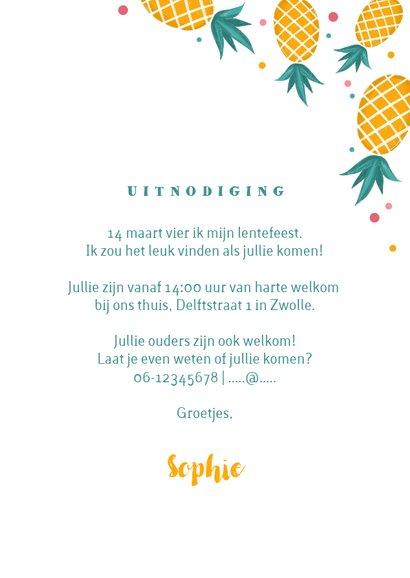 Uitnodiging lentefeest communie meisje ananas confetti 3