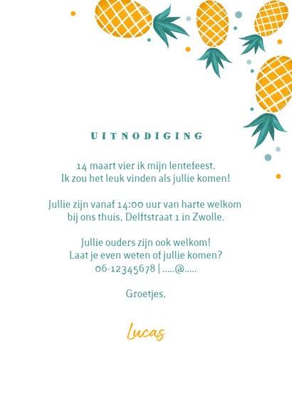 Uitnodiging lentefeest jongen ananas confetti foto 3