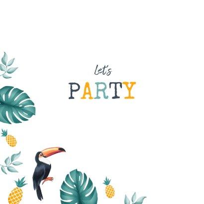Uitnodiging lentefeest jongen tropical ananas toekan 2