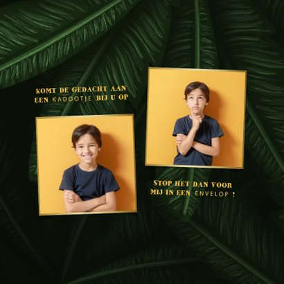 Uitnodiging lentefeest jungle bladeren met foto's 2