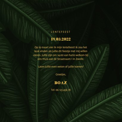 Uitnodiging lentefeest jungle bladeren met foto's 3