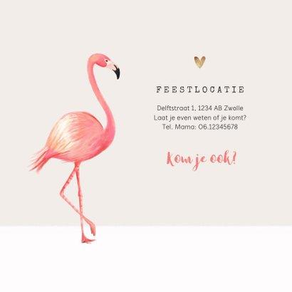 Uitnodiging lentefeest meisje flamingo gouden hartjes 2