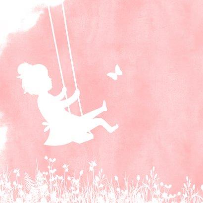 Uitnodiging lentefeest silhouet meisje op schommel waterverf 2