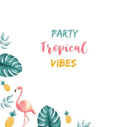 Uitnodiging lentefeest tropical hawaii flamingo ananas 2