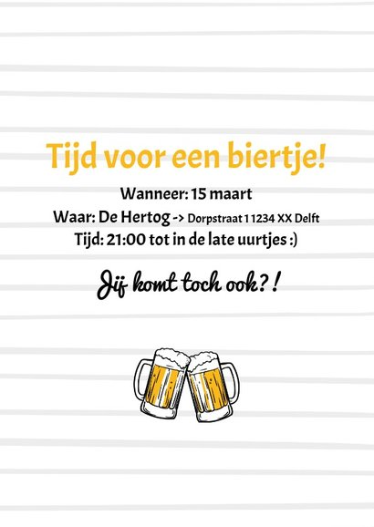 Uitnodiging let's party & have some beers zwart wit 3