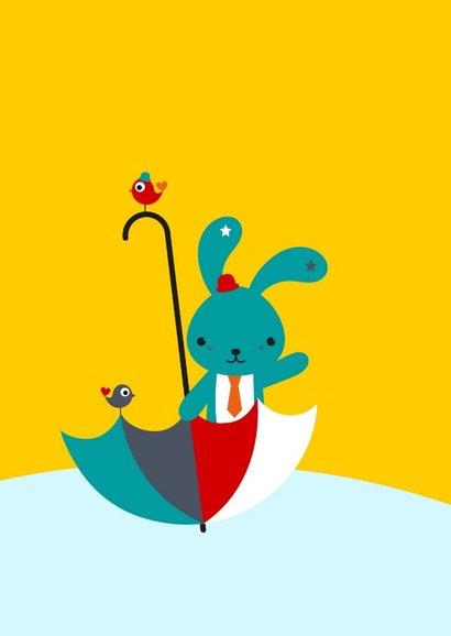 Uitnodiging - Lief konijntje in paraplu 2