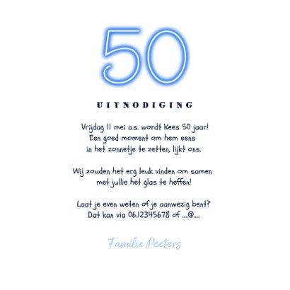 Uitnodiging man 50 jaar neon confetti foto slinger 3