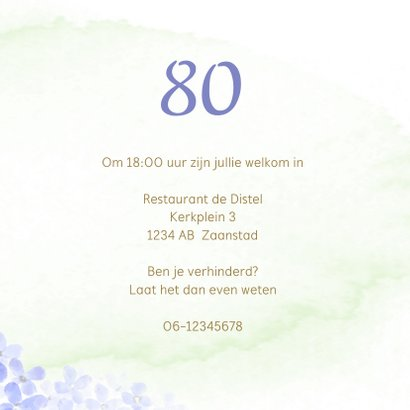 Uitnodiging met blauwe Hortensia 3