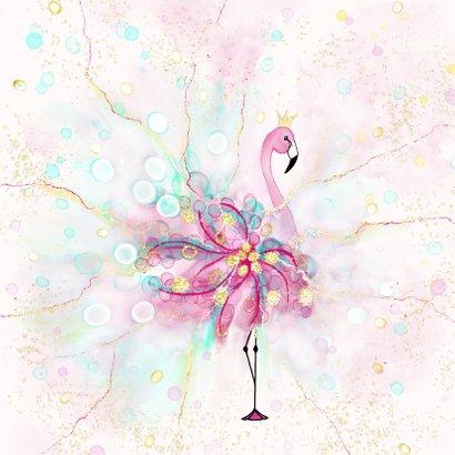 Uitnodiging met flamingo met confetti 2