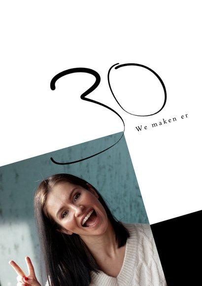 Uitnodiging met geschreven tekst 30e verjaardag modern 2