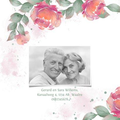 Uitnodiging met rozen waterverf huwelijksjubileum  2