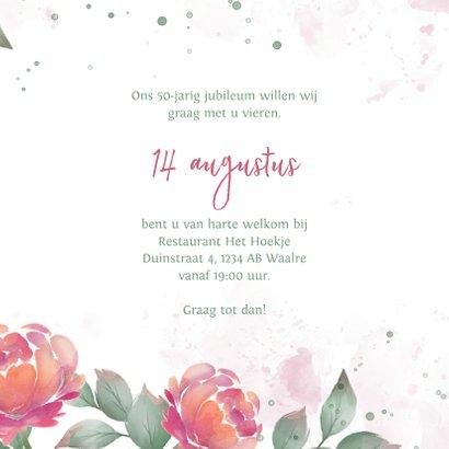 Uitnodiging met rozen waterverf huwelijksjubileum  3