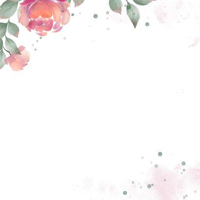 Uitnodiging met rozen waterverf huwelijksjubileum  Achterkant