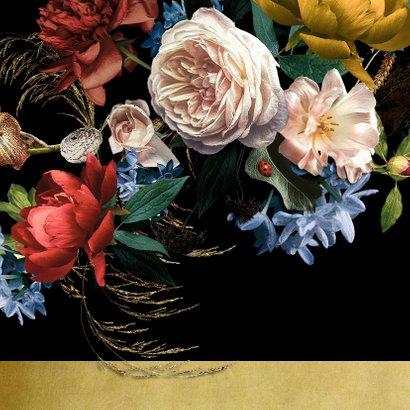 Uitnodiging modern klassiek bloem stilleven met goud 2