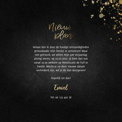 Uitnodiging nieuw plan vierkant goud met spetters 3