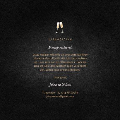 Uitnodiging nieuwjaarsborrel champagne met gouden linten 3